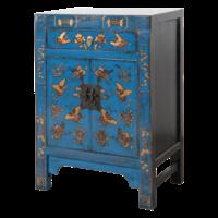 Chinese Nachtkastje Blauw Handgeschilderd Vlinders B40xD32xH60cm