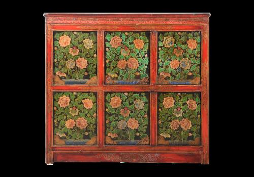 Fine Asianliving Antieke Tibetaaans Chinese Kast Handgeschilderd B102xD38xH94cm
