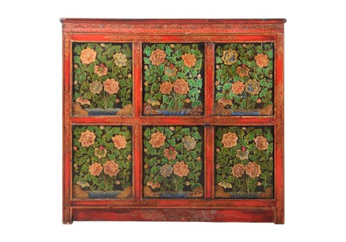 Fine Asianliving Antique Tibetan Chinese Cabinet Handpainted W102xD38xH94cm