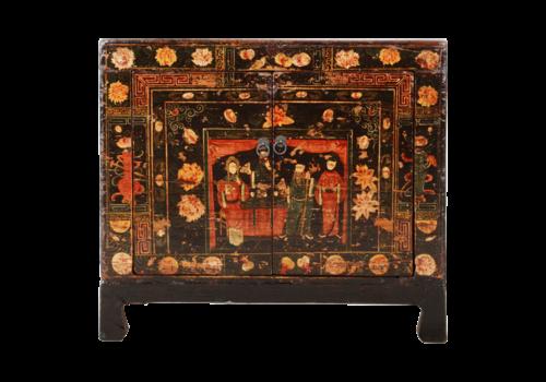 Fine Asianliving Antiker Chinesischer Schrank Handgemalt B88xT38xH77cm