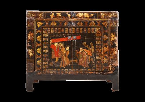 Fine Asianliving Antiker Chinesischer Schrank Handgemalt B86xT40xH75cm
