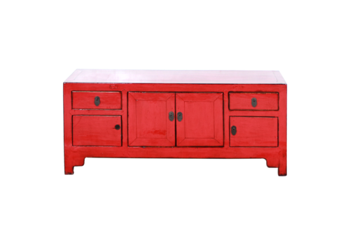 Fine Asianliving Antieke Chinese TV Kast Rood Glossy B122xD39xH63cm