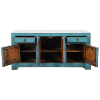 Antieke Chinese TV Kast Blauw Glossy B117xD37xH56cm