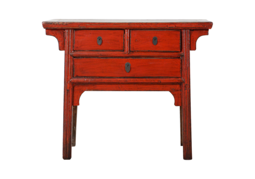 Fine Asianliving Antieke Chinese Sidetable Rood Glossy B105xD48xH88cm