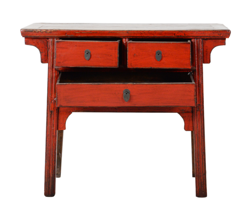 Antieke Chinese Sidetable Rood Glossy B105xD48xH88cm