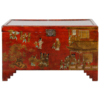 Fine Asianliving Antieke Chinese Kist Rood Goud Handgeschilderd B102xD51xH61cm