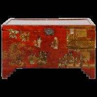 Antieke Chinese Kist Rood Goud Handgeschilderd B102xD51xH61cm
