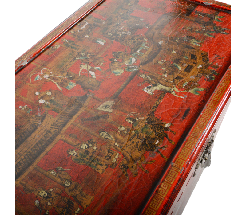 Antique Chinese Chest Red Gold Handpainted W102xD51xH61cm
