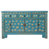 Fine Asianliving Chinese Dressoir Blauw Handgeschilderd Vlinders B140xD38xH88cm