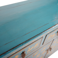 Chinese Dressoir Blauw Handgeschilderd Vlinders B140xD38xH88cm