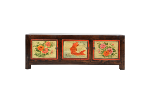 Fine Asianliving Antique Chinese Cabinet Handpainted W140xD30xH40cm