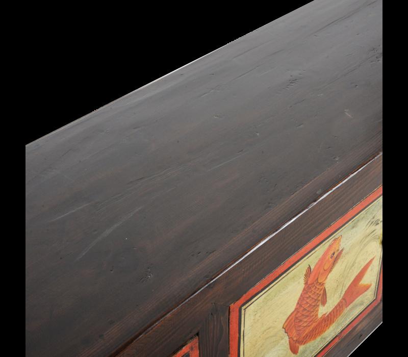 Antieke Chinese Kast Handgeschilderd B160xD40xH54cm