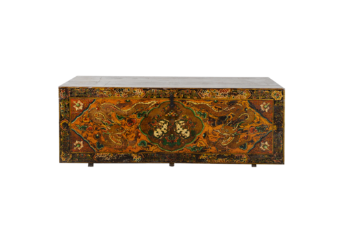Fine Asianliving Rare Antique Tibetan Chest Handcarved Dragons W185xD65xH66cm