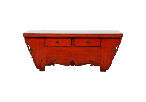 Fine Asianliving Antique Chinese TV Cabinet Red Glossy W107xD44xH42cm