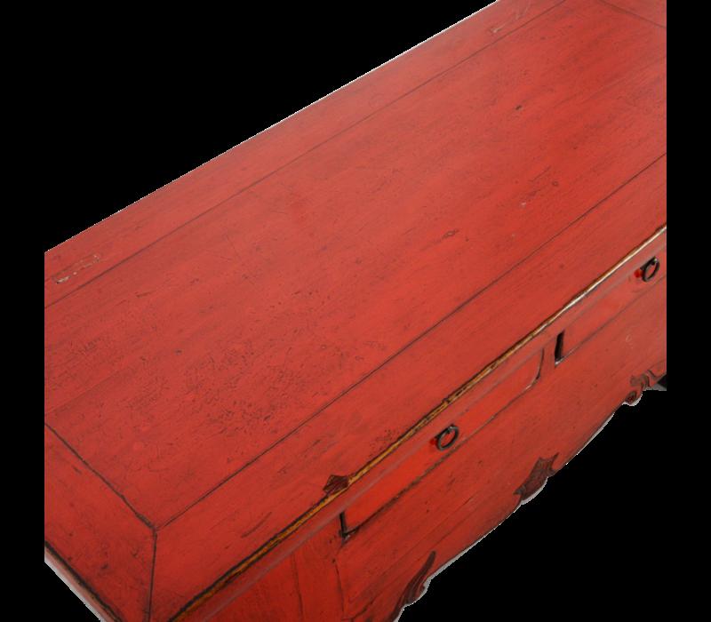 Antieke Chinese TV Kast Rood Glossy B107xD44xH42cm
