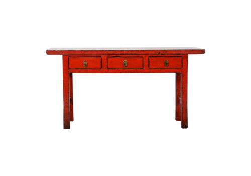 Fine Asianliving Antieke Chinese Sidetable Rood Glossy B165xD40xH84cm