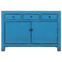 Antique Chinese Sideboard Blue Glossy W130xD40xH90