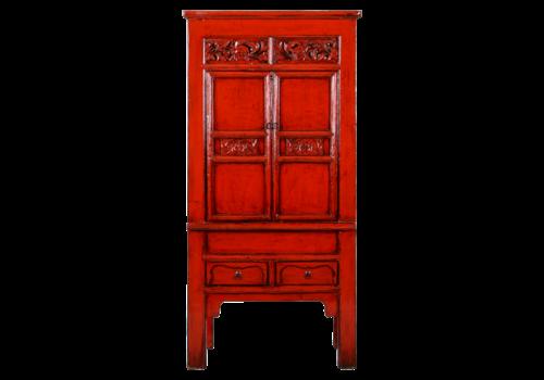 Fine Asianliving Antiker Chinesischer Schrank Rot Glänzend Handgeschnitzt B84xT45xH181cm