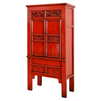 Antieke Chinese Kast Rood Glossy Handgemaakt B84xD45xH181cm