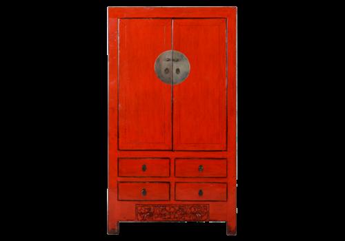 Fine Asianliving Antiker Chinesischer Hochzeitsschrank Rot B104xT50xH186cm