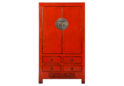 Fine Asianliving Antique Chinese Wedding Cabinet Red Glossy W104xD50xH186cm