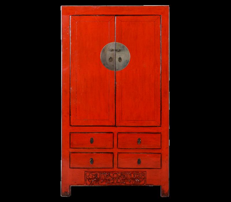 Antieke Chinese Bruidskast Rood Glossy B104xD50xH186cm