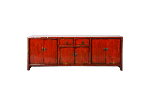 Fine Asianliving Chinese TV Cabinet Red Glossy W150xD38xH55cm