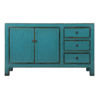 Antique Chinese Sideboard Blue Glossy W150xD40xH90cm