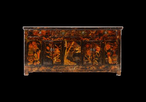 Fine Asianliving Antieke Chinese Dressoir Zwart Handgeschilderd B179xD46xH86cm