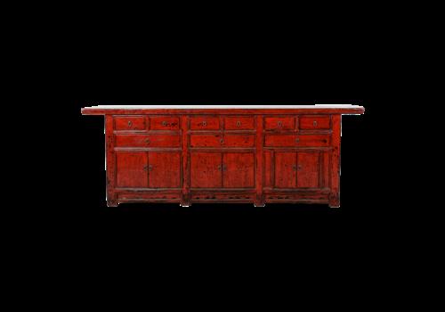 Fine Asianliving Antieke Chinese Dressoir Rood Glossy B255xD47xH93cm