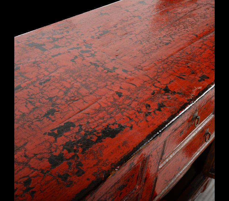 Antieke Chinese Dressoir Rood Glossy B255xD47xH93cm