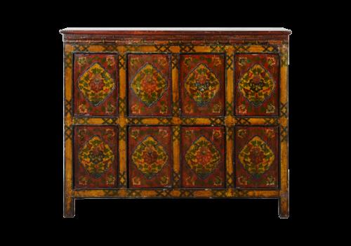 Fine Asianliving Antique Tibetan Cabinet Handcarved W115xD38xH96cm