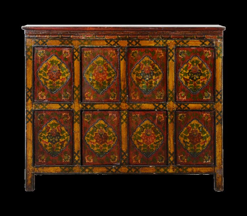Antieke Tibetaanse Kast Handgemaakt B115xD38xH96cm