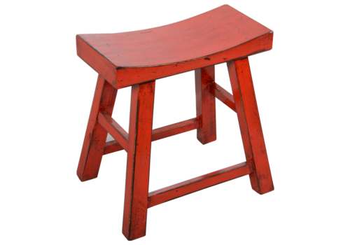 Fine Asianliving Chinese Stool Red Glossy W46xD22xH47cm