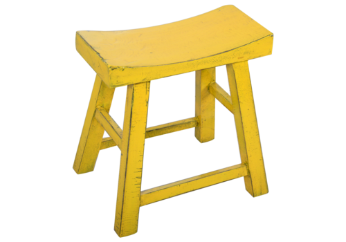 Fine Asianliving Chinese Stool Yellow Glossy W46xD22xH47cm