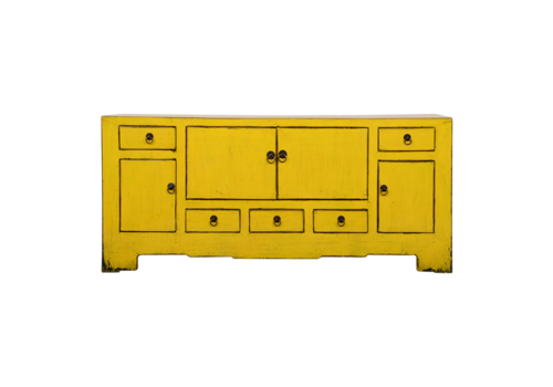 Fine Asianliving Antique Chinese TV Cabinet Yellow Glossy W140xD39xH62cm