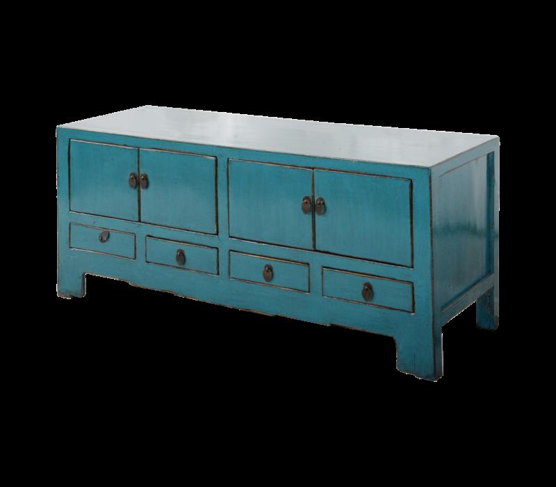 Antieke Chinese TV Kast Blauw Glossy B135xD39xH60cm