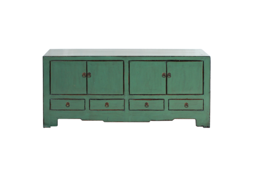 Fine Asianliving Antique Chinese TV Cabinet Mint Grey Glossy W140xD41xH63cm