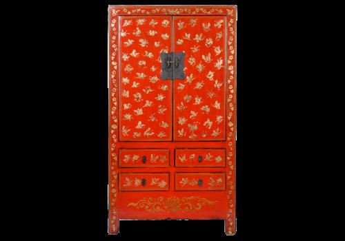 Fine Asianliving Antieke Chinese Bruidskast Rood Goud Handgeschilderd B105xD50xH188cm