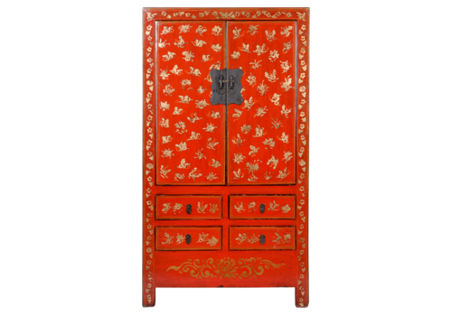 Fine Asianliving Antiker Chinesischer Hochzeitsschrank Rot Gold Handbemalt B105xT50xH188cm