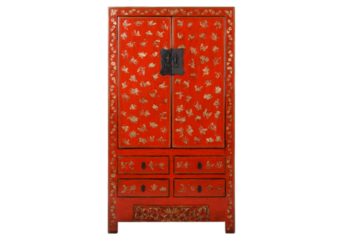 Fine Asianliving Antique Chinese Wedding Cabinet Red Gold Handpainted approx  W105xD50xH188cm