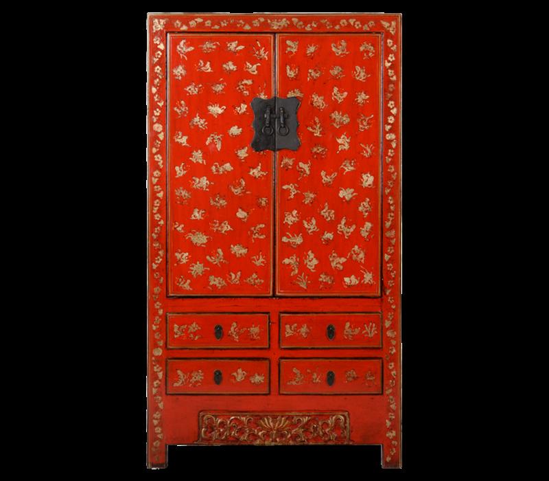 Antieke Chinese Bruidskast Rood Goud Handgeschilderd B105xD50xH188cm