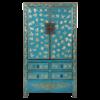 Fine Asianliving Antieke Chinese Bruidskast Blauw Goud Handgeschilderd B105xD50xH188cm