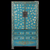 Antieke Chinese Bruidskast Blauw Goud Handgeschilderd B105xD50xH188cm
