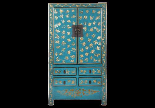 Fine Asianliving Antiker Chinesischer Hochzeitsschrank Blau Gold Handbemalt B105xT50xH188cm