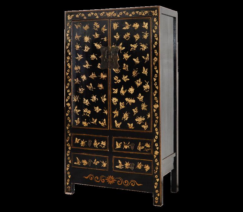 Antiker Chinesischer Hochzeitsschrank Schwarz Gold Handbemalt B105xT50xH188cm