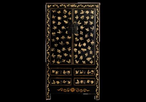 Fine Asianliving Antieke Chinese Bruidskast Zwart Goud Handgeschilderd B105xD50xH188cm