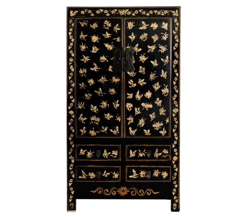 Antieke Chinese Bruidskast Zwart Goud Handgeschilderd B105xD50xH188cm