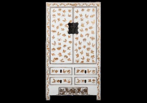Fine Asianliving Antiker Chinesischer Hochzeitsschrank Weiß Gold Handbemalt B105xT50xH188cm