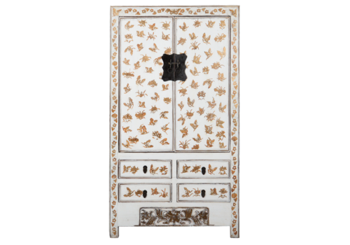 Fine Asianliving Antique Chinese Wedding Cabinet White Gold Handpainted approx  W105xD50xH188cm